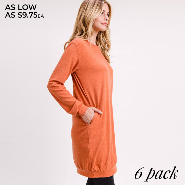 "Women's Sweater Tunic Dress. (6 PACK)  • Long sleeves with banded cuffs  • Crew neck  • Two side seam pockets to keep your hands warm  • Soft and comfortable fabric with stretch  • Above the knee length hem  • Perfect for running errands, casual hangouts, or lounging at home  • Imported   - Pack Breakdown: 6 Dresses Per Pack - Sizes: 2-S / 2-M / 2-L - Approximately 34"" L  - 62% Polyester, 34% Rayon, 4% Spandex"