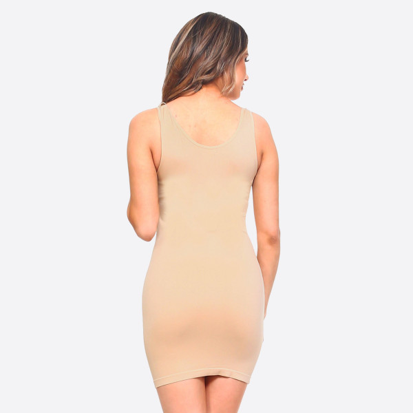 "Women's Solid Seamless Traditional Tank Slip Dress.   - Round Neckline  - Sleeveless - Long Camisole - Mini Dress  - Body Contouring - Figure Hugging - Solid Color  - Comfortable - Super Soft  - Stretchy   - One Size Fits Most 0-14 - Approximately 30"" L - 92% Nylon, 8% Spandex"