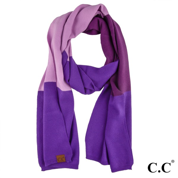 """C.C SF-7005 Color block knit scarf  - 50% Viscose, 30%  Polyester, 20% Nylon - Approximately 15"""" W x 75"""" L"""