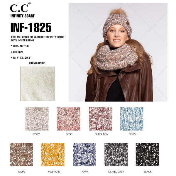"""C.C INF-1825 Two tone fuzzy popcorn knit infinity scarf with sherpa lining  - 100% Polyester - One size fits most - W: 7"""" X L: 30"""" - Matches C.C HAT-1825"""