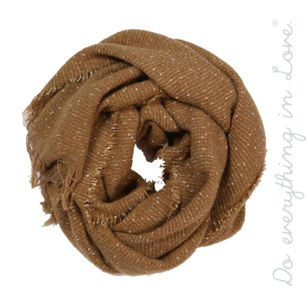 "Do everything in Love brand marled knit scarf with frayed edges.  - Approximately 22"" W x 80"" L - 70% Acrylic, 30% Polyester"