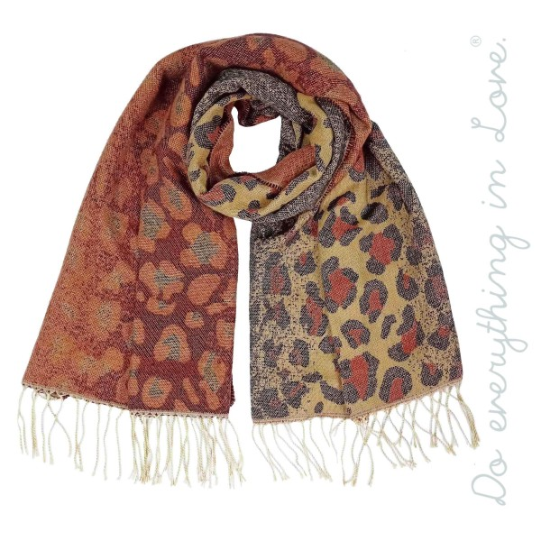 "Do everything in Love brand ombre leopard print oblong scarf with fringes.  - Approximately 27"" W x 80"" L - 65% Acrylic, 35% Polyester"