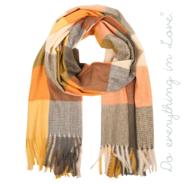 "Do everything in Love brand soft touch color block scarf with fringes.  - Approximately 25"" W x 80"" L - 100% Polyester"