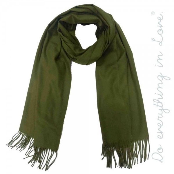 "Do everything in Love brand solid color oblong scarf with fringes.  - Approximately 26"" W x 80"" L - 100% Polyester"
