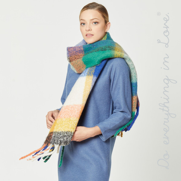 "Do everything in Love brand cozy plaid print scarf with fringes.  - Approximately 19"" W x 90"" L - 100% Polyester"