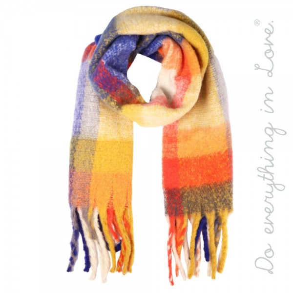 """Do everything in Love Brand Cozy Plaid Print Scarf with Fringe Tassels.  - Approximately 19"""" W x 90"""" L - 100% Polyester"""