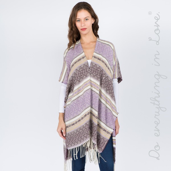 """Do everything in Love Brand Ethnic Stripe Kimono with Fringe Tassels.  - One size fits most 0-14 - Approximately 37"""" L  - 65% Acrylic, 35% Polyester"""