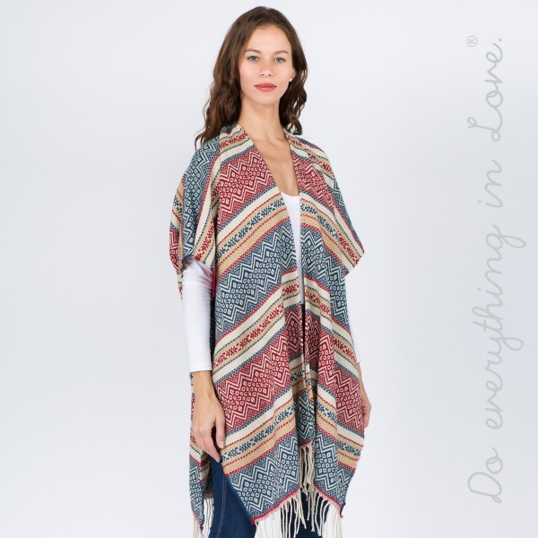 "Do everything in Love Brand Ethnic Stripe Kimono with Fringe Tassels.  - One size fits most 0-14 - Approximately 37"" L  - 65% Acrylic, 35% Polyester"
