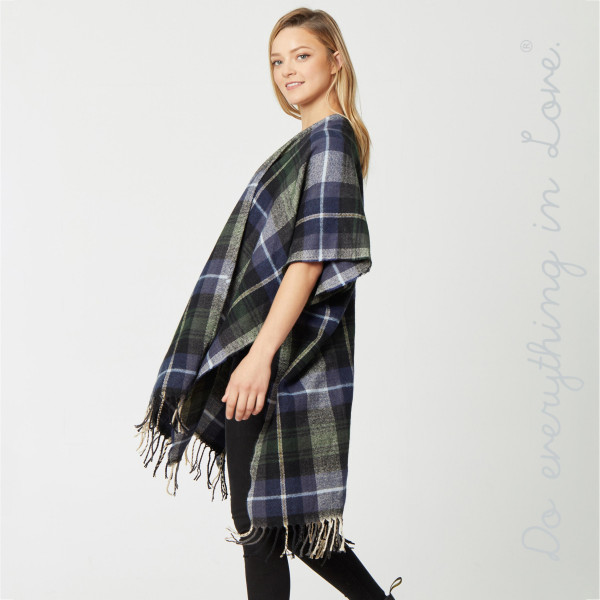 """Do everything in Love Brand Plaid Print Kimono with Fringe Tassels.  - One size fits most 0-14 - Approximately 39.5"""" L - 65% Acrylic, 35% Polyester"""