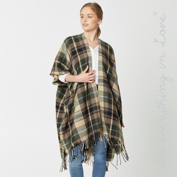 "Do everything in Love Brand Plaid Print Kimono with Fringe Tassels.  - One size fits most 0-14 - Approximately 39.5"" L - 65% Acrylic, 35% Polyester"