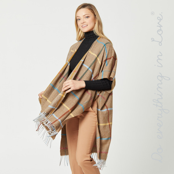 "Do everything in Love Brand Windowpane Plaid Print Kimono with Fringe Tassels.  - One size fits most 0-14 - Approximately 39"" L  - 65% Acrylic, 35% Polyester"