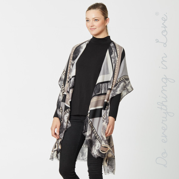 "Do everything in Love Brand Lightweight Designer Chain Print Kimono.  - One size fits most 0-14 - Approximately 36"" L - 100% Viscose"