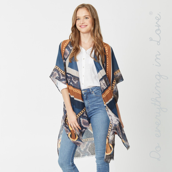 """Do everything in Love Brand Lightweight Designer Chain Print Kimono.  - One size fits most 0-14 - Approximately 36"""" L - 100% Viscose"""