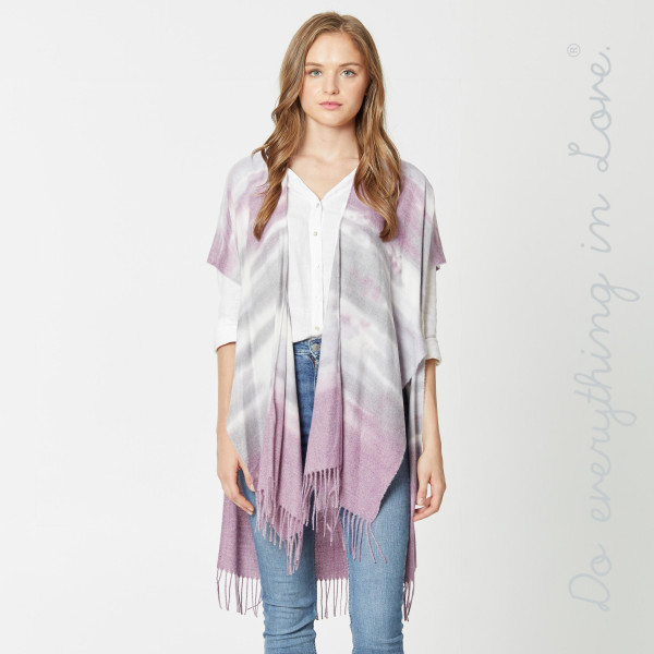 "Do everything in Love brand soft touch tie dye kimono with fringes.  - One size fits most 0-14 - Approximately 37"" L - 100% Viscose"