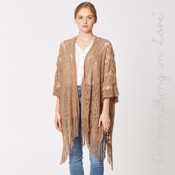 """Do everything in Love Brand Crochet Knit Kimono Featuring Fringe Tassels.  - One size fits most 0-14 - Approximately 32"""" L - 100% Acrylic"""