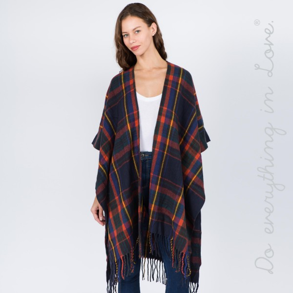 "Do everything in Love Brand Plaid Print Kimono Featuring Fringe Tassels.  - One size fits most 0-14 - Approximately 37"" L - 100% Acrylic"