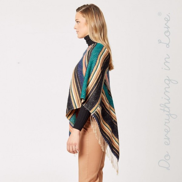 "Do everything in Love brand ethnic stripe poncho with fringes.  - One size fits most 0-14 - Approximately 34"" L - 65% Acrylic, 35% Polyester"