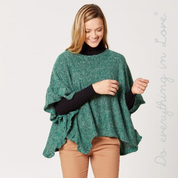 "Do everything in Love brand short solid color fuzzy knit ruffled sleeve poncho.   - One size fits most 0-14 - Approximately 21"" L - 100% Acrylic"