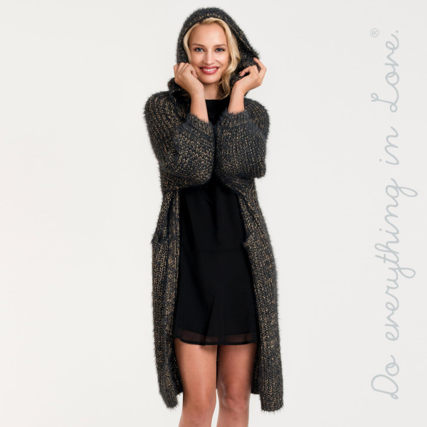 "Do everything in Love Brand Hooded Metallic Knit Maxi Cardigan Featuring Balloon Sleeves & Pockets.  - One size fits most 0-14 - Approximately 41"" L - 65% Polyamide, 19% Lurex, 15% Acrylic"