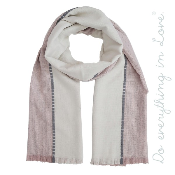 "Do everything in Love brand two tone scarf stitched scarf.  - Approximately 27"" W x 80"" L - 80% Acrylic, 30% Wool"