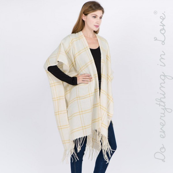 "Do everything in Love Brand Plaid Print Kimono with Fringe Tassels.  - One size fits most 0-14 - Approximately 39"" in L - 100% Acrylic"