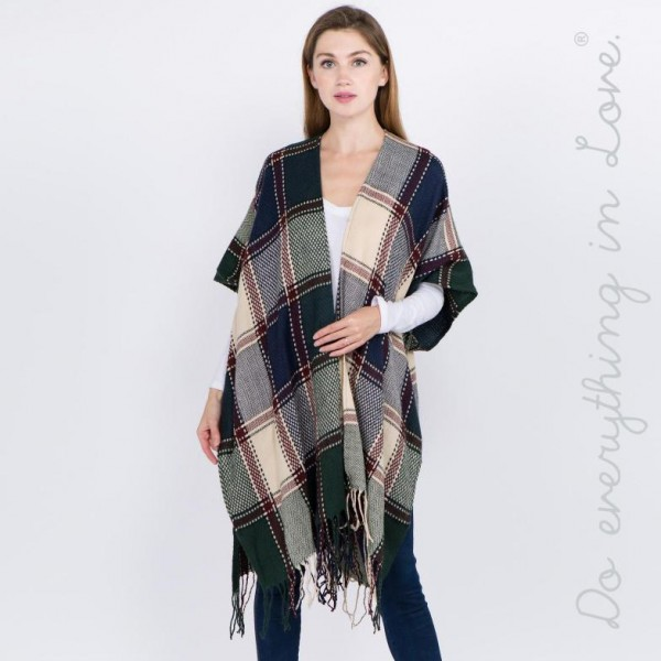 "Do everything in Love Brand Plaid Check Kimono with Fringe Tassels.  - One size fits most 0-14 - Approximately 39"" L - 100% Acrylic"