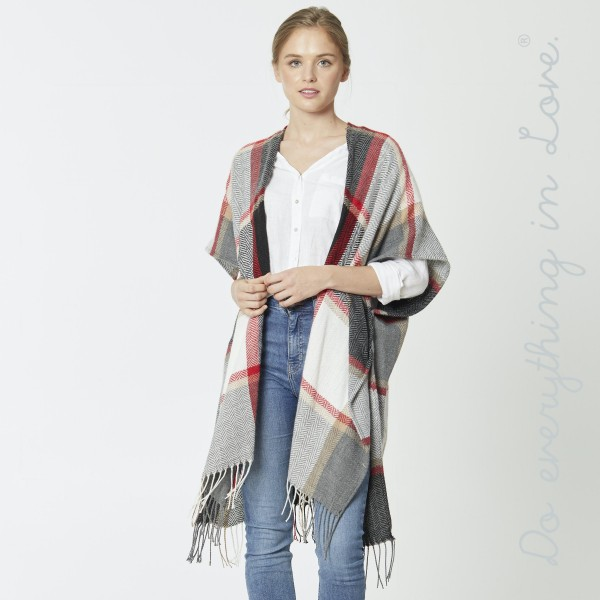 "Do everything in Love Brand Herringbone Plaid Print Kimono with Fringe Tassels.  - One size fits most 0-14 - Approximately 39"" L - 100% Acrylic"