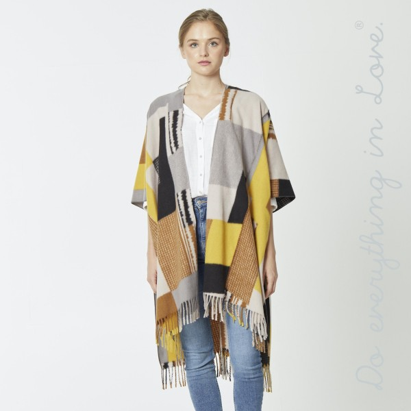 "Do everything in Love brand color block kimono with fringes.  - One size fits most 0-14 - Approximately 37"" L - 70% Polyester, 30% Viscose"