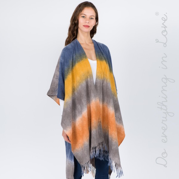 "Do everything in Love brand tie dye kimono with fringes.  - One size fits most 0-14 - Approximately 37"" L - 70% Polyester, 30% Viscose"
