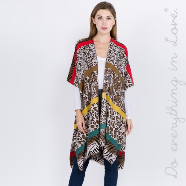 "Do everything in Love brand multicolor stripe multi animal print kimono.   - One size fits most 0-14 - Approximately 37"" L - 100% Acrylic"
