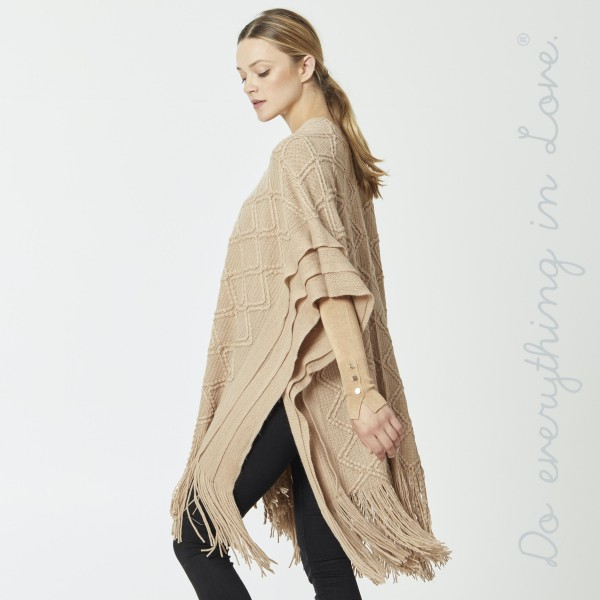 """Do everything in Love Brand Diamond Textured Woven Kimono Featuring Large Fringe Tassels.  - One size fits most 0-14 - Approximately 39"""" L - 100% Acrylic"""