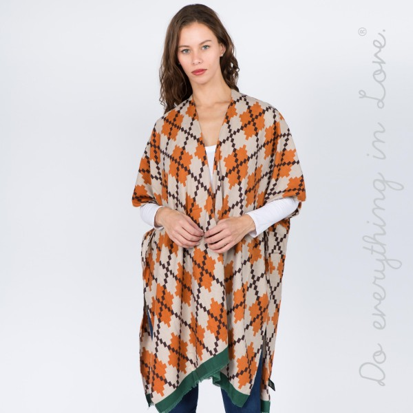 "Do everything in Love brand argyle print kimono.   - One size fits most 0-14 - Approximately 37"" L - 100% Polyester"