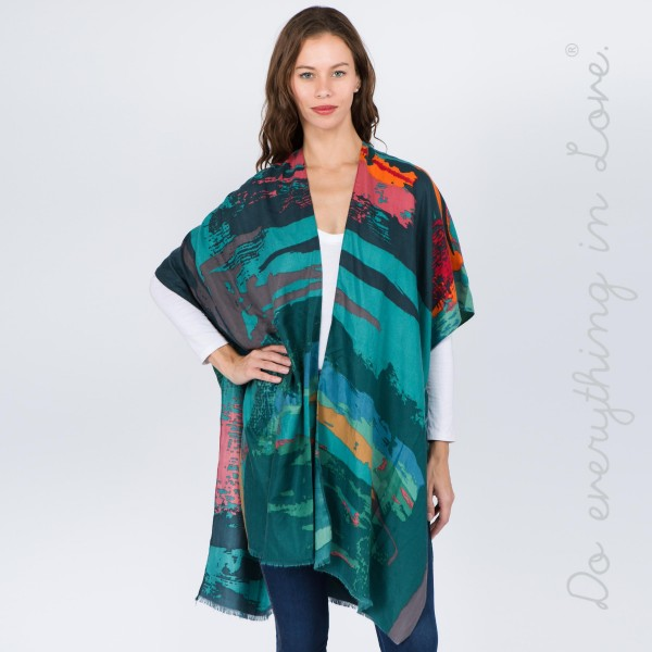 """Do everything in Love brand multicolor abstract print kimono.  - One size fits most 0-14 - Approximately 37"""" L - 100% Polyester"""