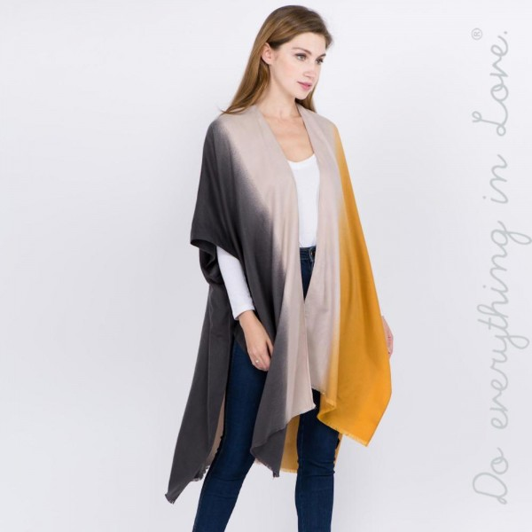 "Do everything in Love Brand Ombre Color Block Kimono.  - One size fits most 0-14 - Approximately 37"" L - 100% Polyester"