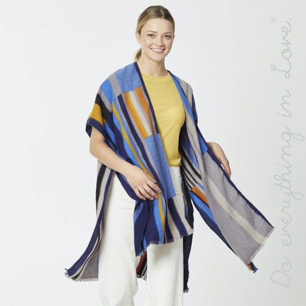 "Do everything in Love brand multi color block stripe kimono.  - One size fits most 0-14 - Approximately 37"" L - 100% Polyester"