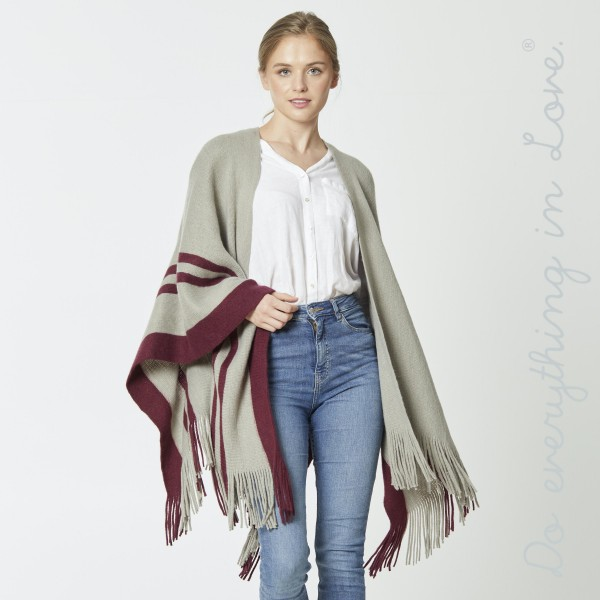 "Do everything in Love Brand Stripe Bordered Ruana/Shawl with Fringe Tassels.  - One size fits most 0-14 - Approximately 37"" L - 100% Acrylic"