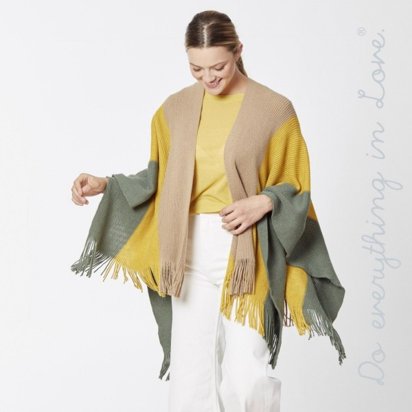"Do everything in Love brand knitted color block ruana/shawl with fringes.  - One size fits most 0-14 - Approximately 33"" L - 100% Acrylic"