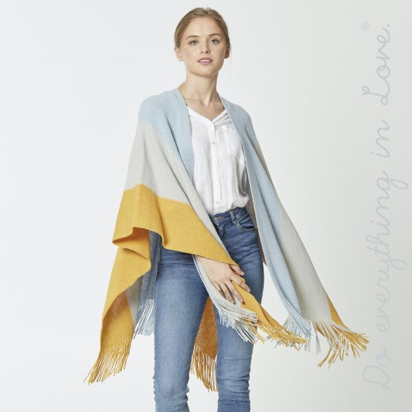 """Do everything in Love Brand Knitted Color Block Ruana/Shawl with Fringe Tassels.  - One size fits most 0-14 - Approximately 33"""" L - 100% Acrylic"""