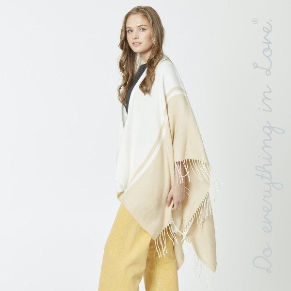 "Do everything in Love brand two tone ruana/shawl with fringes.  - One size fits most 0-14 - Approximately 30"" L - 100% Acrylic"
