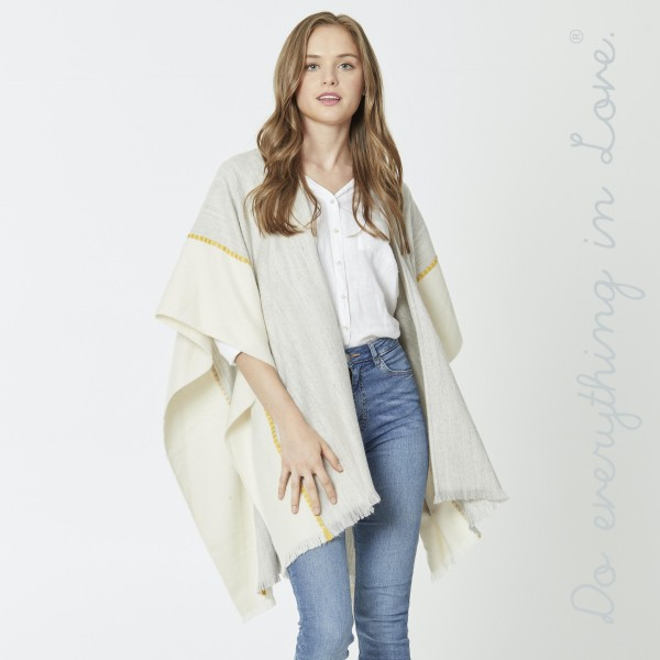 """Do everything in Love Brand Two Tone Ruana Featuring Stitching Details.  - One size fits most 0-14 - Approximately 34"""" L - 80% Acrylic, 20% Wool"""