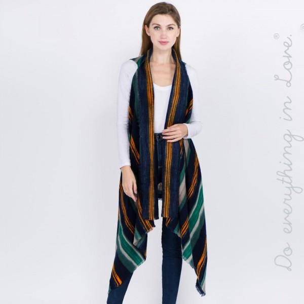 Wholesale do everything Love brand multicolor striped vest raw edges L longest L