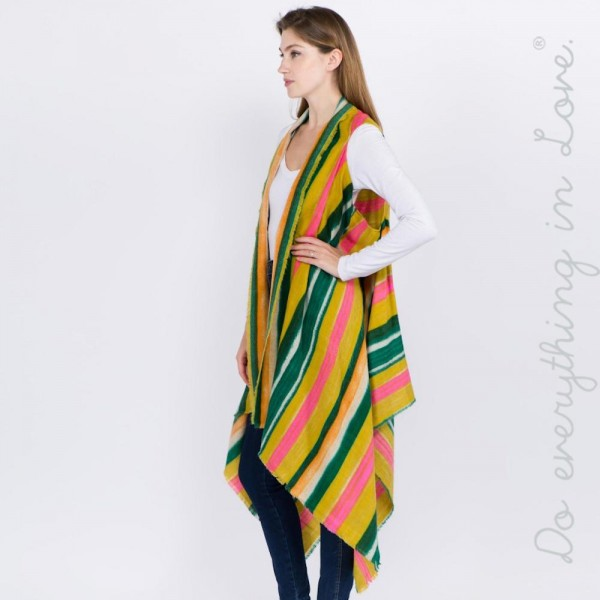 "Do everything in Love brand multicolor striped vest with raw edges.  - Approximately 36"" L, longest length 46"" L - 100% Acrylic"