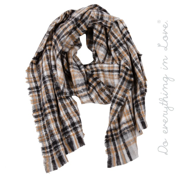 "Do everything in Love Brand Multicolor Plaid Print Scarf with Frayed Trim.  - Approximately 24"" W x 78"" L - 100% Polyester"