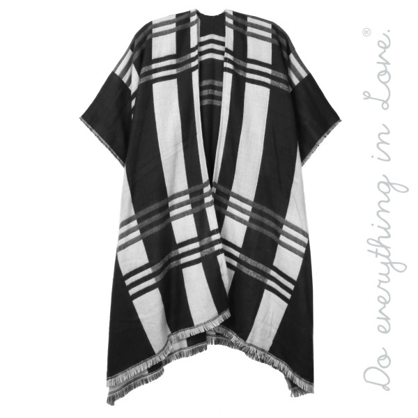 "Do everything in Love Brand Plaid Kimono with Frayed Trim.  - One size fits most 0-14 - Approximately 36"" L - 100% Acrylic"