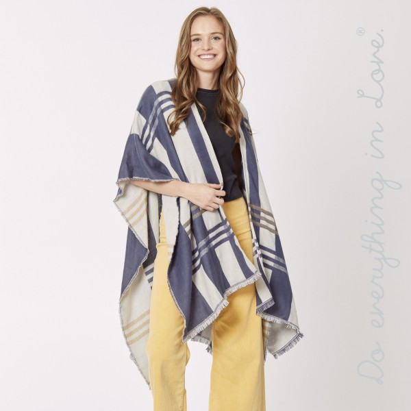 """Do everything in Love Brand Plaid Kimono with Frayed Trim.  - One size fits most 0-14 - Approximately 36"""" L - 100% Acrylic"""