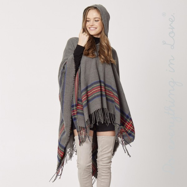 "Do everything in Love Brand Hooded Tartan Plaid Ruana with Fringe Tassels.  - One size fits most 0-14 - Approximately 37"" L - 100% Acrylic"