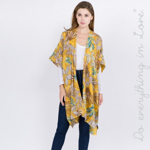 "Do everything in Love brand tropical floral print kimono.  - One size fits most 0-14 - Approximately 37"" L - 100% Polyester"