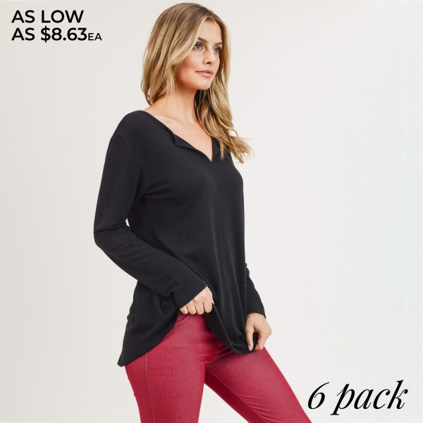 "Women's Solid Color Long Sleeve V-Neck Split Tunic Top. (6 PACK)  • Long sleeves • Split neckline • Round hem • Soft, breathable, cotton-blend fabrication • Imported  - Pack Breakdown: 6pcs/pack - Sizes: 2-S / 2-M / 2-L - Approximately 29"" L - 80% Polyester, 20% Cotton"