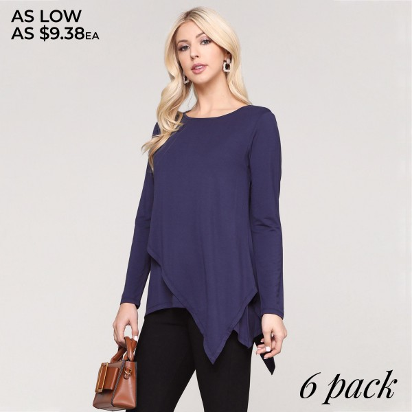 "Women's solid color long sleeve asymmetrical hem tunic top.  • Long sleeves • Round neckline • Asymmetrical hemline • Soft and comfortable fabric with stretch • Perfect for layering with jeans or leggings • Imported  - Pack Breakdown: 6pcs/pack - Sizes: 2-S / 2-M / 2-L - Approximately 30"" in length  - 95% Rayon, 5% Spandex"