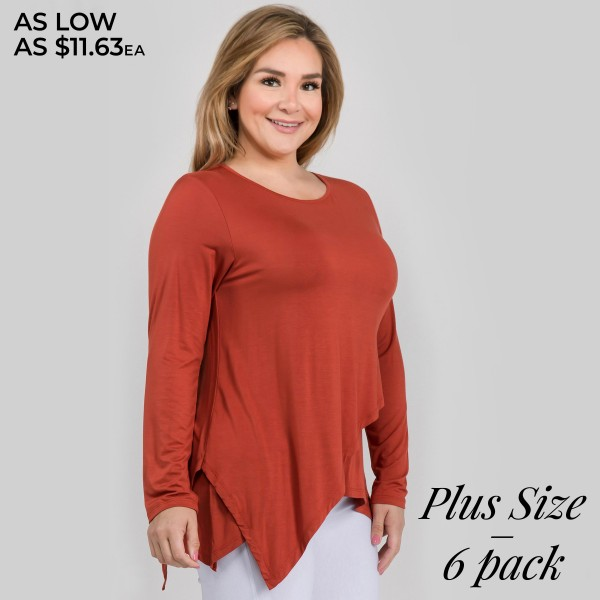 "Women's Plus lightweight long sleeve asymmetrical top.  • Long sleeves • Round neckline • Asymmetrical hemline • Soft and comfortable fabric with stretch • Perfect for layering with jeans or leggings • Imported  - Pack Breakdown: 6pcs/pack - Sizes: 2-XL / 2-2XL / 2-3XL - Approximately 29"" L - 95% Rayon, 5% Spandex"
